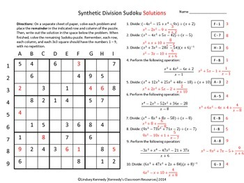 long and synthetic division review