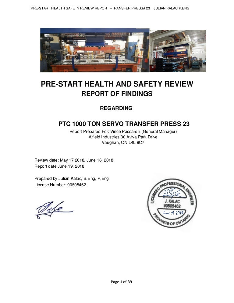 pre start health and safety review