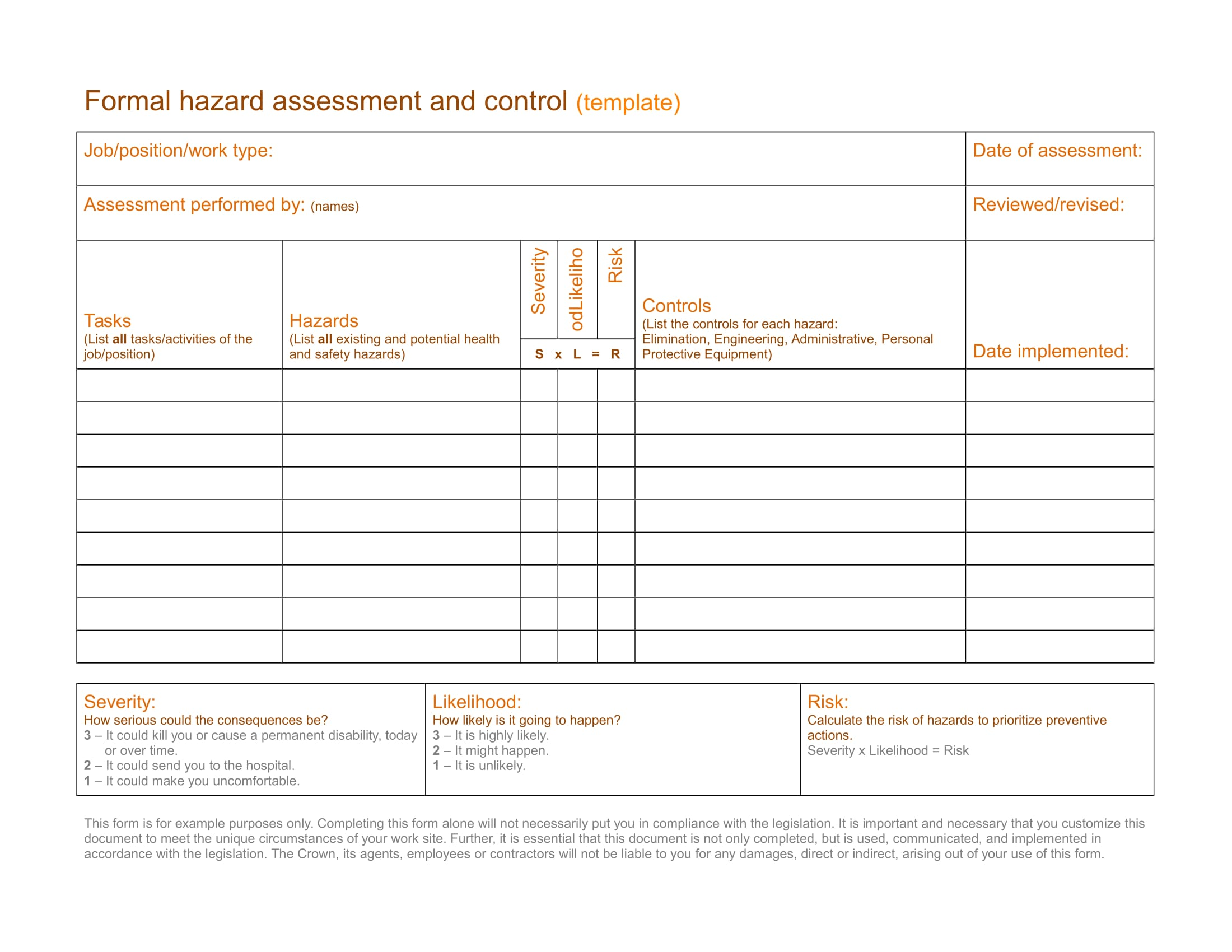 pre start health and safety review template