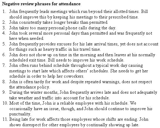 quantity of work performance review comments